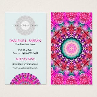 Tarjeta De Visita Caleidoscopio rosado bonito de la mandala de Boho