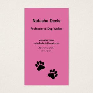 Tarjeta De Visita Caminante del perro de la impresión de la pata en