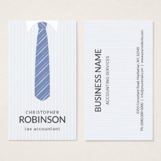 Tarjeta De Visita Camisa blanca y contable azul del lazo del color