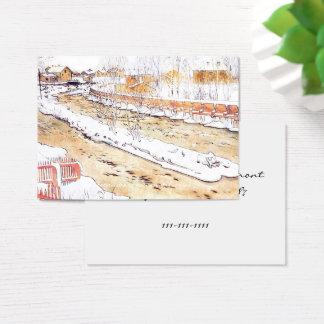Tarjeta De Visita Canal en canal inclinado de la madera de la nieve