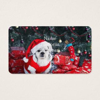 Tarjeta De Visita Caniche santa - perro del navidad - perro de Papá