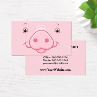 Tarjeta De Visita Cara rosada feliz linda del cerdo