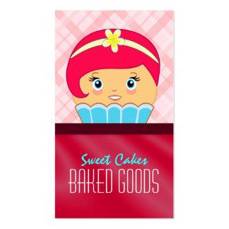 Tarjeta de visita carmesí rosada de la panadería tarjetas de visita