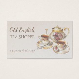 Tarjeta De Visita Casa de té elegante de la antigüedad del vintage