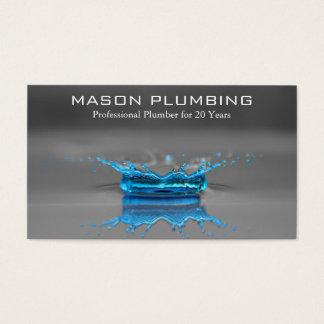 Tarjeta De Visita Chapoteo del descenso del agua azul - fontanería -