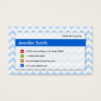 Tarjeta De Visita Chef de Cuisine - Chevron azul moderno
