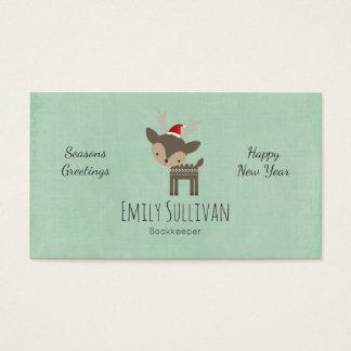 Tarjeta De Visita Ciervos del navidad en un inconformista retro del