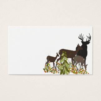 Tarjeta De Visita Ciervos en madera. Navidad