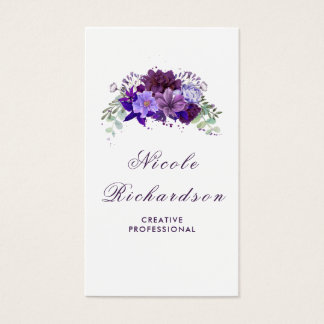 Tarjeta De Visita Ciruelo y flores púrpuras violetas elegantes y