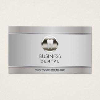 Tarjeta De Visita Cita dental de plata moderna del dentista