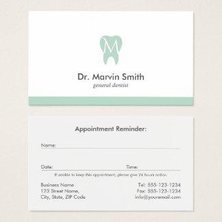 Tarjeta De Visita Cita dental del diente del monograma del dentista
