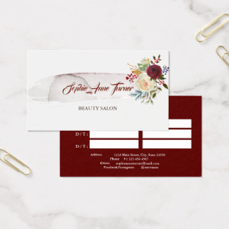 Tarjeta De Visita Cita floral de Borgoña del Watercolour elegante