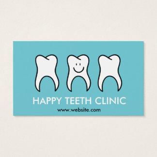 Tarjeta De Visita Clínica dental del dentista azul con la mascota