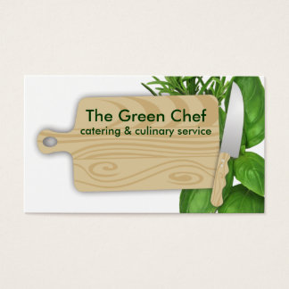 Tarjeta De Visita cocinero de las hierbas de la tabla de cortar que