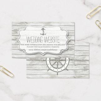 Tarjeta De Visita Colección de madera blanqueada náutica del boda de