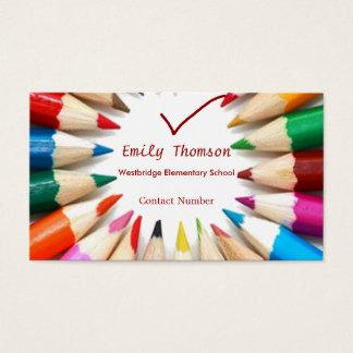 Tarjeta de visita colorida de los profesores de