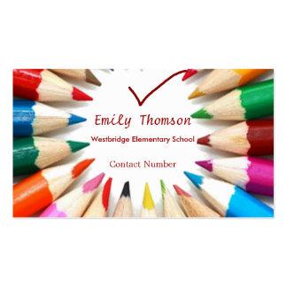 Tarjeta de visita colorida de los profesores de lo