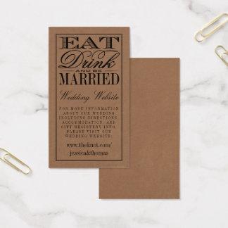 Tarjeta De Visita Coma, bebida y sea boda rústico casado de Kraft