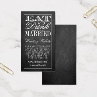 Tarjeta De Visita Coma, bebida y sea Web site casado del boda de la