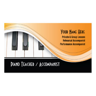 Tarjeta de visita con clase del profesor de piano