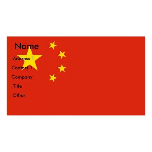Tarjeta de visita con la bandera de China