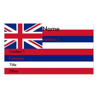 Tarjeta de visita con la bandera de Hawaii los