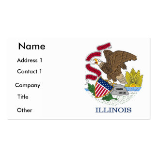 Tarjeta de visita con la bandera de Illinois, los
