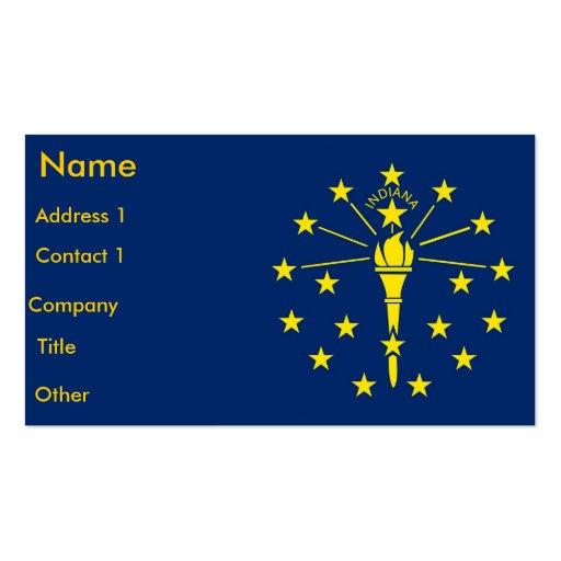 Tarjeta de visita con la bandera de Indiana los E.