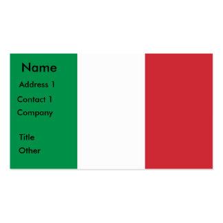 Tarjeta de visita con la bandera de Italia