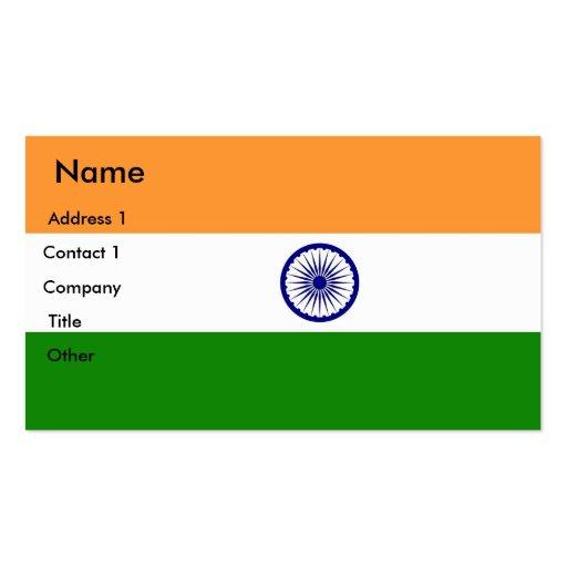 Tarjeta de visita con la bandera de la India