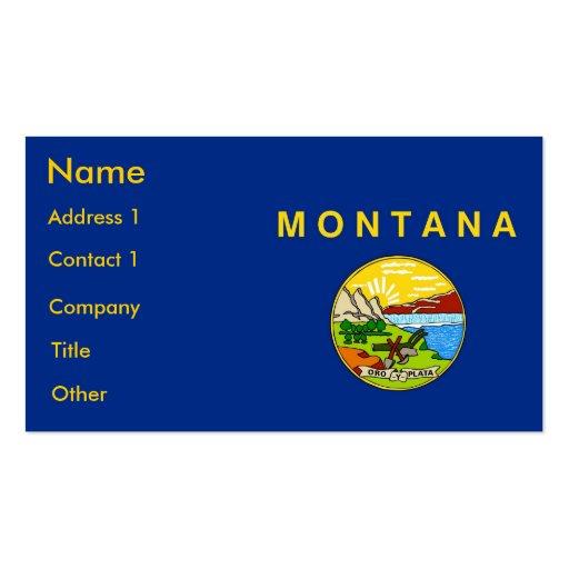 Tarjeta de visita con la bandera de Montana los E.