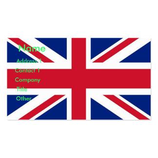 Tarjeta de visita con la bandera de Reino Unido