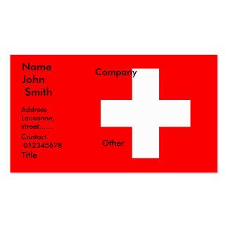 Tarjeta de visita con la bandera de Suiza