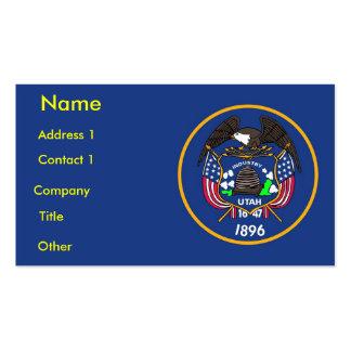 Tarjeta de visita con la bandera de Utah los