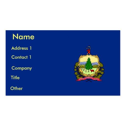 Tarjeta de visita con la bandera de Vermont los E.