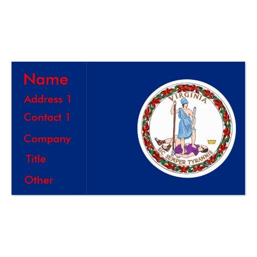 Tarjeta de visita con la bandera de Virginia los E