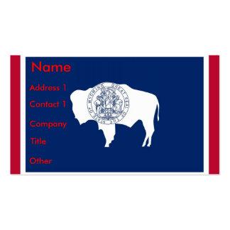 Tarjeta de visita con la bandera de Wyoming, los