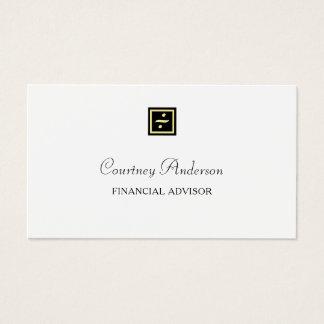 Tarjeta De Visita Consejero financiero del oro del logotipo negro