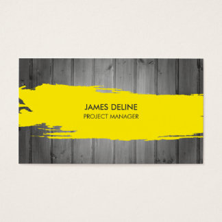 Tarjeta De Visita Construcción gris moderna de la raya del amarillo