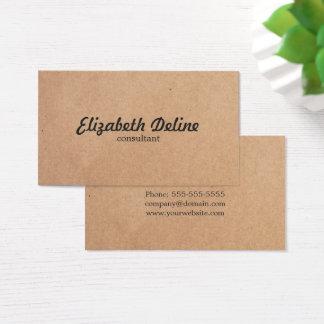 Tarjeta De Visita Consultor elegante simple del papel de Kraft