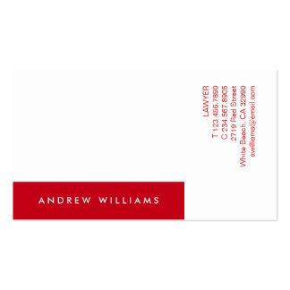 Tarjeta de visita contemporánea roja blanca de Min
