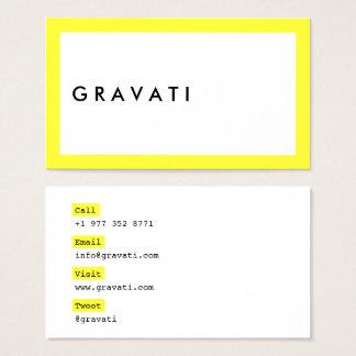 Tarjeta De Visita Contraste amarillo de neón intrépido blanco