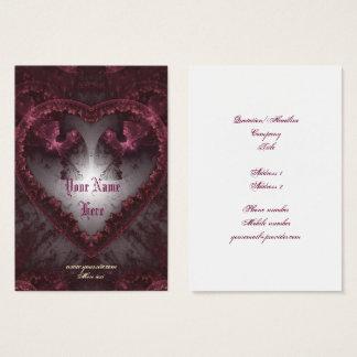 Tarjeta De Visita Corazón gótico púrpura 001