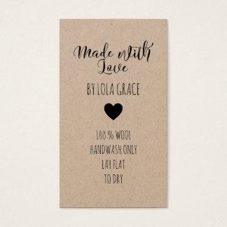 Tarjeta De Visita Corazón lindo hecho con el papel de Kraft del amor