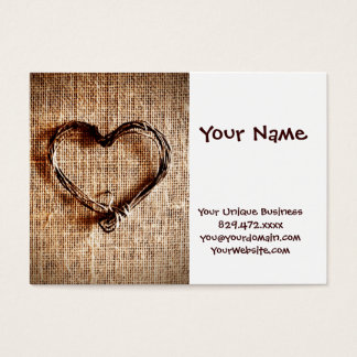 Tarjeta De Visita Corazón rústico de la guita del país en la