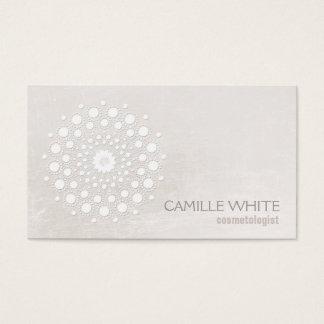 Tarjeta De Visita Cosmetologist blanco elegante elegante del blanco