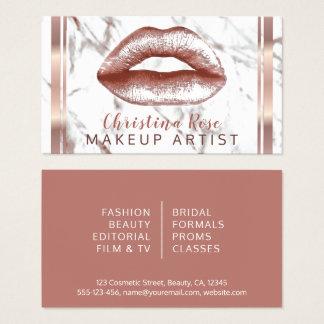 Tarjeta De Visita Cosmetologist de mármol del artista de maquillaje