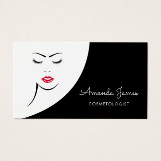 Tarjeta De Visita Cosmetologist rojo negro moderno de los labios de