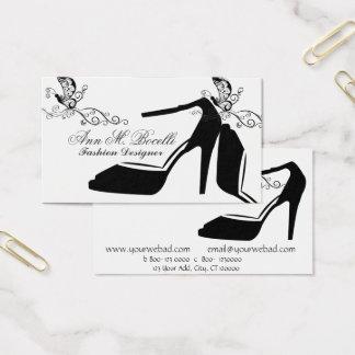 Tarjeta De Visita Costuras elegantes del zapato de la mariposa de