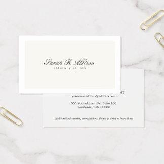 Tarjeta De Visita Crema elegante simple del profesional del abogado